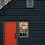 Amazing Exterior Home stain Color Combos Choosing With Black Picket Wall also Orange Door