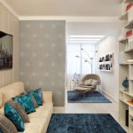 Beautiful Small Residing Room Inside Design With Beautiful Cushions On Beige Sofa As Well Blue Rug On Wooden Flooring also Television The Center Storage On The Wall plus Gray Floral stained Partition Thought