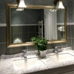 Cute Toilet Mirrors Ideas Frame Combine With Black Tile barrier plus White Marble Self-importance Double wash basin metal As Effectively Wall Lamps Over The Mirror