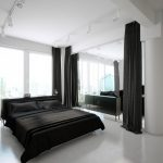 Fabulous-White-plus-black-Scandinavian-Bed-room-Design-Showcasing-Comfortable-Double-Mattress-With-Huge-Material-Curtains-For-Separation-And-Home-windows-Therapy-Additionally-LED-Focus-Gentle-Concepts
