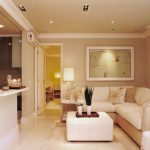 Fascinating living room decorations with arc lamp desk beside door plus white sofa also leather benches table also shades window within the near including white kitchen beside residing area