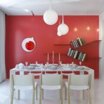 Fashionable Crimson Eating Room Paint Color Concepts With  Bookshelf  As Effectively Pendant Lamps with White Eating Table Set