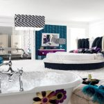 Gorgeous Teenager Bedroom Adorning Ideas With Large Pendant Lamps plus Put White elegant Bathtub As Effectively White Fur Rug Cover The Ground As Nicely Beautiful King Bed Including  violet Self-importance Mirror