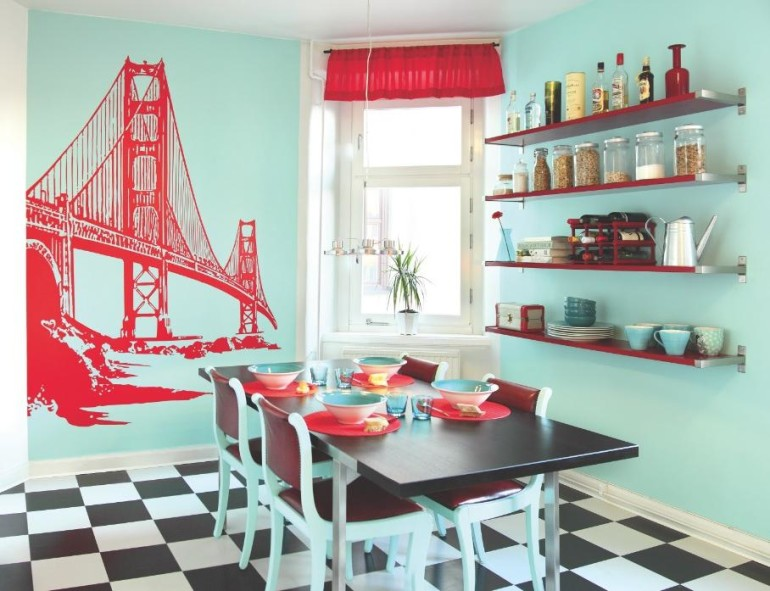 Modern Colors Inside With Brilliant Blue Color Tosca To The Red Wall Decor and Golden Gate Bridge Wallpaper Ornament