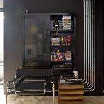 Mounted Cupboard Organizer Glass Doorways On Absolute Black Wall Featuring Stainless Industrial Trendy Also Small Wood Desk In White Fur Rug Ideas