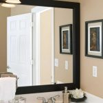Square Bathroom Mirrors Ideass Frame Hang On The Wall Is Accompanied With Small Picture On The Wall And Pendant Laight Including Single Sink Faucet