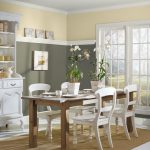 Superior Green Cream Dining Room Paint Color Idea With Wooden Table alaso White Chair Brown Fur Rug Also White Vanity Storage In The Nearby