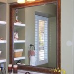 Traditional Picket Mirrors ideas Body For little Bathroom Along With Small wash Basin plus Wall Shelves Design Together with Wall Lamp on The Mirror plus Candle Stand Countertop Vanity