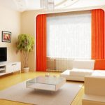 Trendy Living Room Highly effective decorations Idea With Light Orange Curtain Window plus Tv On Self-importance Desk Beside Plant Nook Along With Glass Desk On Rug Also Sectional Couch