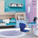 amazing Teen Bedroom Decorating Ideas With Purple Round Rug On Ground As Well Purple Blue Painting Wall plus Three Bed and Wardrobe Including Elegant Computer Desk