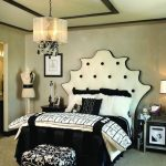 awesome Bedroom design Ideas With Black scheme Use Unique Headboard Iincluding Fancy Round Pendant Mild Together with Carpet Cowl The Flooring