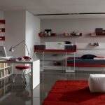 awesome Teen Bedroom Adorning Ideas With Purple rug On Black Tile Ground As Properly Sweet Loft Mattress Together with Shades Window Corner Additionally Bookcase Below The Study Table