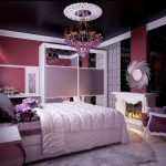 beautiful Lady Teen Bedroom Decorating Concepts With Glass Wardrobe plus Purple Chandelier Including Floral pattern Wallpaper also Fashionable Fire Purple Chair