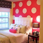 Beautiful Teen Bed Room Ideas With Pink White Circle Pattern Stained Well As Properly Shades Window Nook Including Desk Lamp