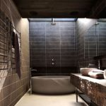 classic-bathroom-brown-marble-Bathtub-chrome-water-tap-chrome-shower-chrom-mudroom-wooden-powder-room-wide-bathroom-mirror-brown-ceramics-wall-wooden-roof