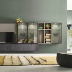 dark-glasses-cabinet-brown-fur-rug-minimalist-floor-lamp-modern-short-table-40inch-widescreen-televition
