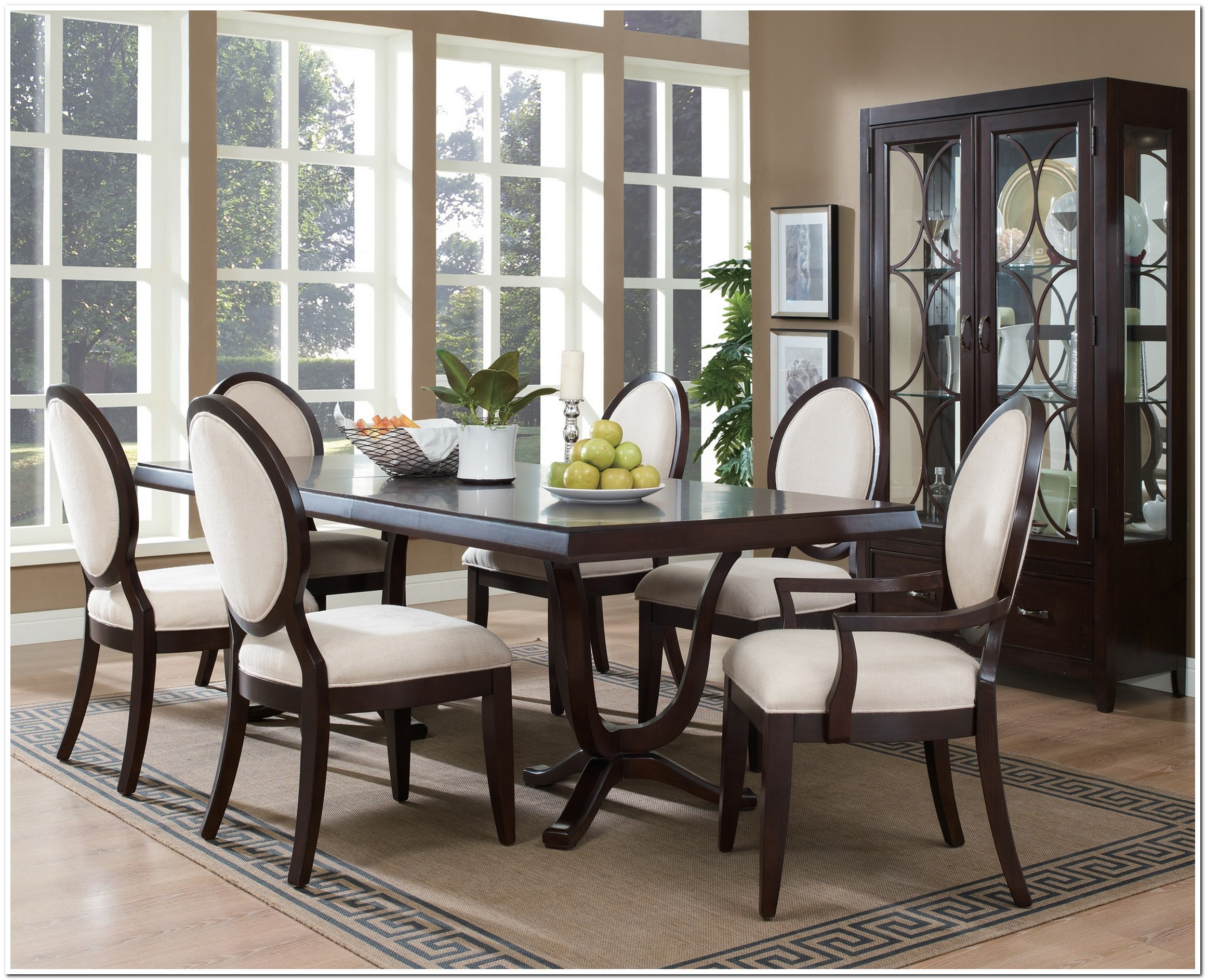 Elegan Dining Set Dark Brown Laminated Dining Table Brown Wooden Dining  Chair Glasses Bay Window Brown
