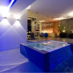 elegan jacuzzi with blue lighting fitness room with glasses wall indoor swimming pool with blue light