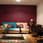 elegant Living area Inside Design With White and Purple ing Wall Decor As Well Darkish Brown Leather Chair And Beige Sofa Including Elegant Table On Circle Pattern Rug