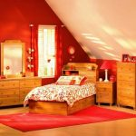 elegant Teen Bedroom Adjoining Ideas With White varnished Sloping Ceiling Including Orange Portray Wall As Effectively Wooden Furnishings Set also Floral Mattress Cover plus Window Nook