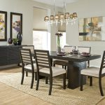 elegant black dining set decoration black vernished wooden dining table blach vernished dining chair brown fur rug for dining area abrtract dining room painting dining area candelier black wooden dining room cabinet brown wooden floor