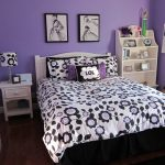 little beautiful Teen Bedroom Decorating Concepts With White Wooden Shelf Nook plus Brown Laminate wooden Floor As Effectively Floral Bed Cover As Nicely Purple Portray Wall plus Black Rug