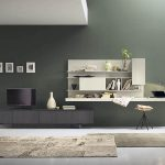 minimalist-yellow-chair-modern-grey-wooden-bookshelf-abstract-painting-brown-fur-rugs-brown-puffy-chair-32inch-widescreen-televition-dark-brown-wooden-cabinet-minimalist-grey-curtain-white-wooden-floor
