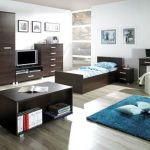 modern Teen Bed room Ornament Makes use of Brown Wooden Furniture plus Blue Fur Rug On Wood Flooring As Effectively Glasses Window Corner Also Frame On The Wall
