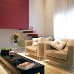 modern living Room Highly effective Design With Cream Material Chair also Long Black Glasses Table On Brown fur Rug Including Picket Stairs buffy Red Paint Wall Together with White Curtain