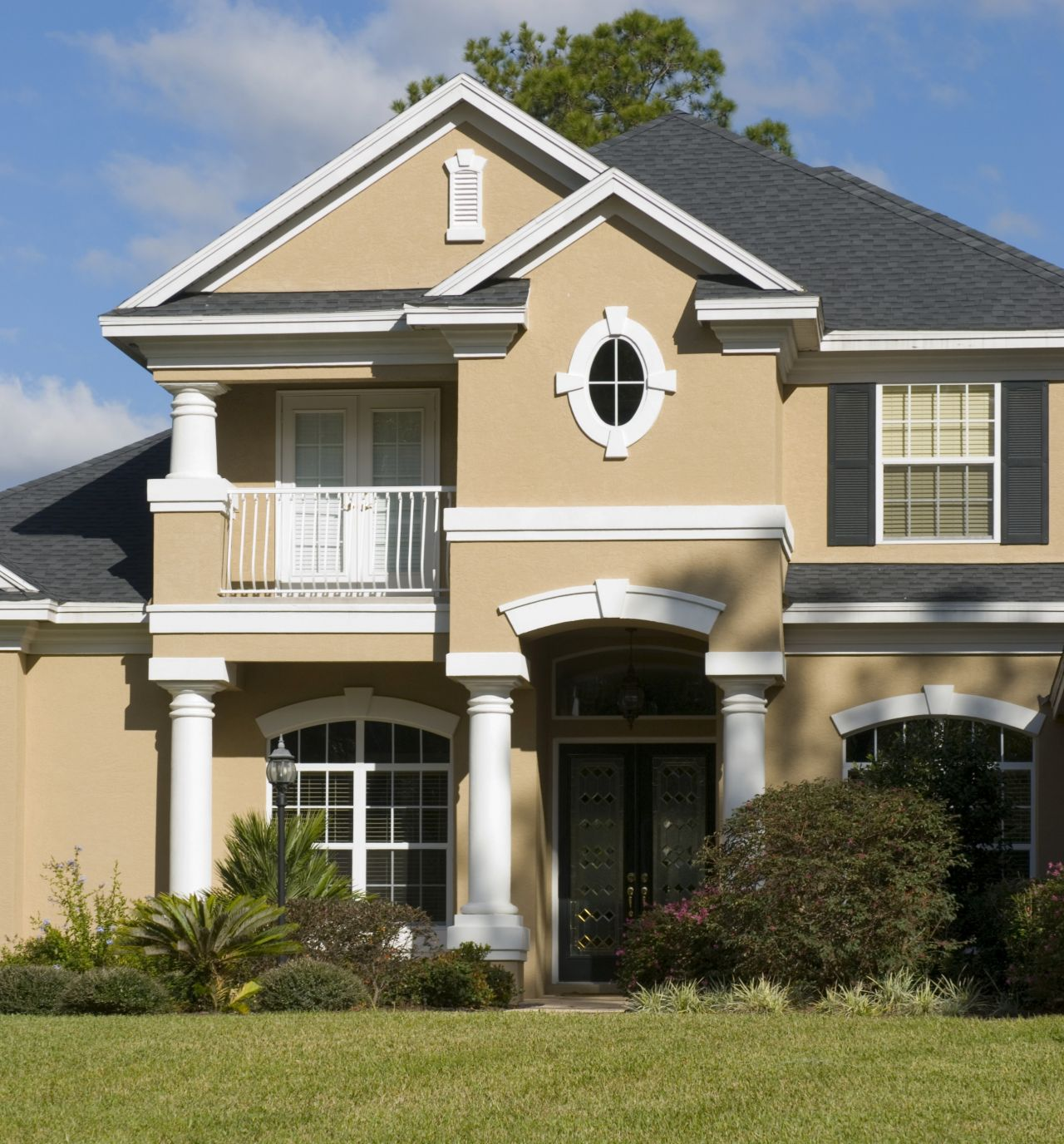 Exterior paint schemes and consider your surroundings for Exterior indian house paint
