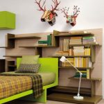 unique Teen Bedroom Decorating Concepts With Green Platform Bed And Wood bookshelf Striped Bed plus little flooring lamp