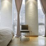 Amazing Lighting In Ceiling Along Elegant Curtain Design As Effectively White Stone Wall Beside Window And Picket Laminate Flooring Cute Bedroom Inside Design