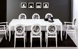 Artistic Cabinets On The Grey Wall stained In The Nearby Fascinating Black Eating Room Rug Decoration Underneath White Eating Table Set