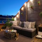 Beautiful Lighting Also Very Romantic Cozy Balcony Design Concepts At Night time View
