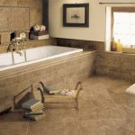 Lavatory Incredible Lavatory Floor Tile Ideas White Whirlpool Tub Brown Flooring Design Fantastic Bathroom Flooring Tile Concepts with Sturdy Safety
