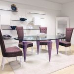 Stunning Oval Glasses Eating Table Plus Brown Dining Chair Together with Inventive Glass Shelves On The Wall plus Mirror Corner Exciting White Dining area Rug Decoration