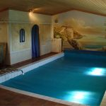 Superb Sloping Roof for Indoor Swimming Pool With Large Painting On Wall also Wall Lighting idea