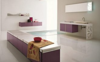 Toilet beautiful White Purple Toilet With Floor Tub elegant Fashionable Toilet Design