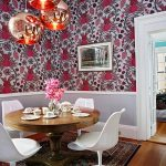 Tom-Dixon-copper-lamps-and-bold-patterned-wallpaper-create-a-striking-setting