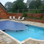 Traditional House Design With Swimming Pool Design Concept protect Two Coloration Alongside Stone Ground Design Idea