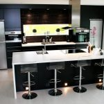 Trendy Bar Stools Also Lighting Ceiling Additionally Brown Wall Backsplash elegant kitchen set big size refrigerator