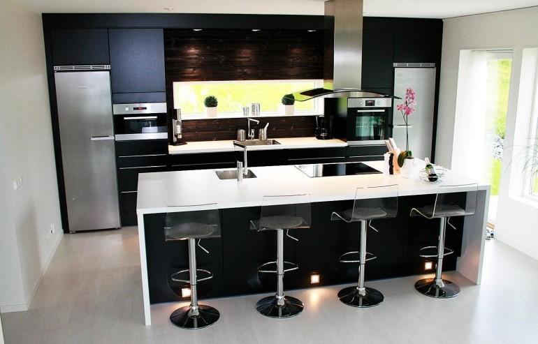Trendy Bar Stools Also Lighting Ceiling Additionally Brown Wall Backsplash elegant kitchen set big size refrigerator