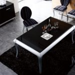 Unique Eating area Desk Design Ideas With Silver Leg Stand On Black also Striped Pattern Dining Chair Alongside With black Vanity In The Close by