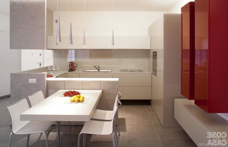 Wonderful Kitchen Furnishings design With Small Pendant Lamp White Eating Table Set plus glossy Pink plus White Cabinet Kitchen