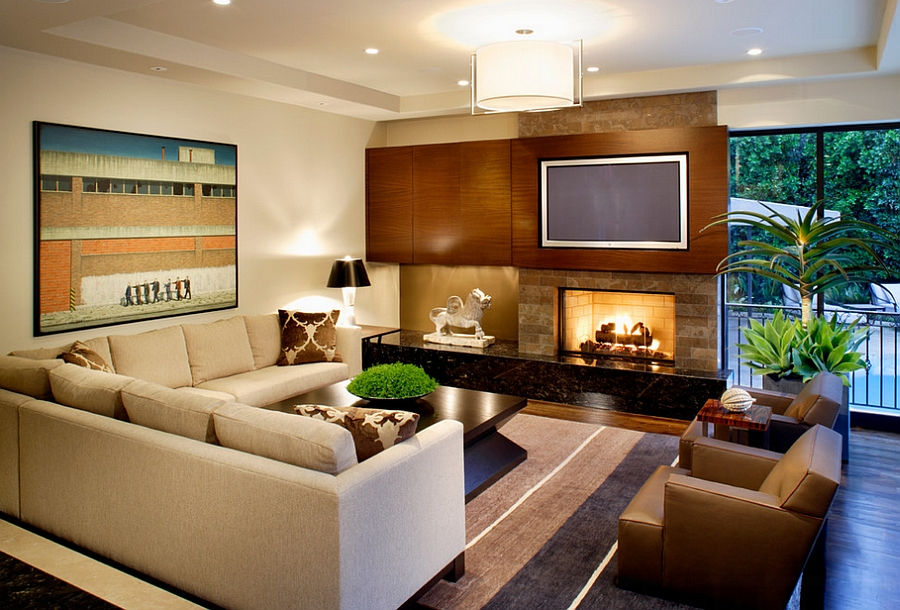 Amazig Masculine Living Room With Golden Accent Also Wonderful Buil In Wall Media Large
