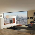 amazing Living Room concept With widescreen Television Cabinet Partition The Center As Properly classic Sleeper Couch  Black Rug On Wood Floor Also Large Glasses square Window