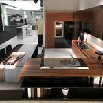 amazing dark brown wooden kitchen cabinet also gorgeous l shaped countertop with glossy wall panel in white tile flooring