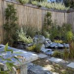 amazing high bamboo fence unique pond with stone border granite square path various beautiful plants inspirational backyard divider