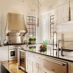 amazing kitchen design with unque pendant lighting also interesting golden hues with glossy granite countertop feat interesting large white kitchen island in laminate flooring