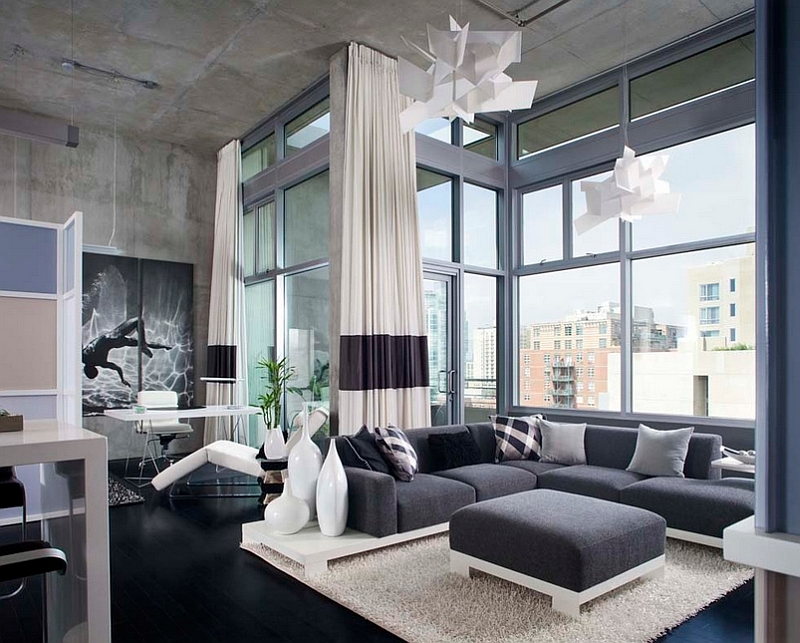 Amazing Modern Masculine Living Room Cozy Warm Black Loft Sofa Wonderful Large Iron Framed Wall Interesting